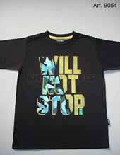 Remera niño M/C. Estampa Will not stop. Colores surtidos. Gruny.