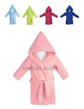 Salida de baño en toalla color, lisa con capucha. Colores surtidos. Mi bes-