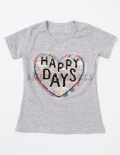Remera M/C Nena. Aplique lentejuelas reversibles. Corazon Happy days Colores surtidos. Sol de chicos.