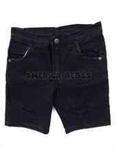Bermuda jean elastizada negra con roturas. Compacto.