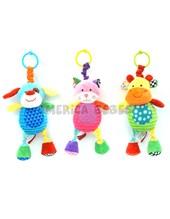 "Sonajero animales 9,5"" vibran. Colores surtidos. Woody toys."