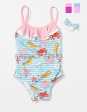 Malla bebe entera rayada con animales acuaticos. Colores surtidos. Gadi Mallas.