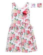 Vestido nena estampado en poplin cruce espalda y aplique. Colores surtidos. Cherto Kids.