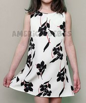Vestido nena flores chicas. Color Hueso. Mitai.