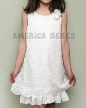 Vestido nena broderie. Color Blanco. Mitai.
