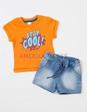 Conjunto bebe remeraM/C estampa Stay Cool y short Jean.  Colores surtidos. BWay.