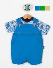 Conjunto bebe Jardinero Gabardina y Remera M/C rayada estampada Palmeras.  Colores surtidos. Premium Only Baby.