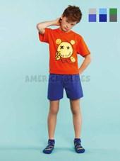 Pijama nene Remera M/C con estampa emoji y short a contratono. Colores surtidos. Elemento.
