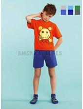 4560e7566 Pijama nene Remera M C con estampa emoji y short a contratono. Colores  surtidos