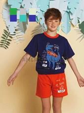 Pijama nene Remera M/C con estampa dino, short contratono con estampa. Colores surtidos. Elemeto.