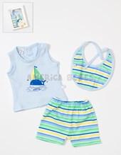 Set de regalo en CAJA: Batin, short y babero rayado. Baby Skin.