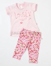 Conjunto beba remera M/C  Lovely y calza floreada. Colores surtidos. Baby Skin.