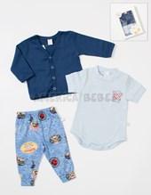 Set de regalo en CAJA: 3 Piezas Body, cardigan y pantalon.  Colores surtidos. Baby Skin.