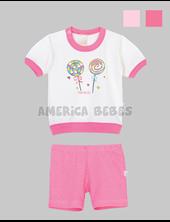 Pijama beba remera M/C  estampado y pantalon. Colores y estampas surtidos. Naranjo.
