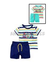 Mini conjunto bebe remera rayada con estampa y short reeb. Colores surtidos. Pachi.
