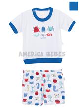 Pijama bebe combinado  remera M/C con estampa monstruitos. Colores surtidos. Naranajo.