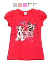 Remera nena M/C estampa Perritos. Colores surtidos. Ruabel.