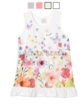 Vestido beba con volado estampado con flores y brillo . Colores surtidos. Ruabel.