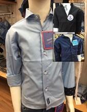 Camisa niños M/C lisa con combinacion y detalle boton. Colores surtidos. Popeye Kids.