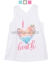 Musculosa nena con estampoa Surf Ilove beach. Colores surtidos. Gepetto.