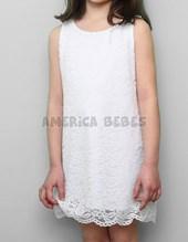 Vestido nena bordado. Color HUESO. Mitai.