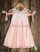 Vestido nena encaje combinado. Varsity.