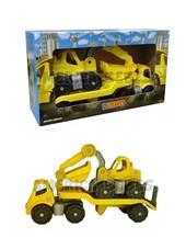 Set vehiculos de construcción x2. Camion trailer y RetroExcavadora. Presentacion en caja. Duravit.