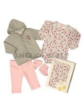 Set de regalo en caja 4 piezas: Cardigan, body , calza, escarpin. Colores surtidos. Baby Skin.