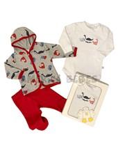 Set de regalo en caja: 3 piezas. Cardigan, body, ranita. Colores surtidos. Baby Skin.
