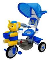 Triciclo Elefante azul musical. Barral direccional. Apoya pies. Corral de seguridad. Capota rebatible,  canasto portaobjetos.  1 a 3 años. Biemme.