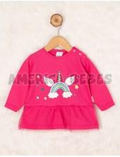 Remera beba M/L  jersey gamuzado con tul. Estampa Unicornio arco iris. Colores surtidos. Premium Only Baby.