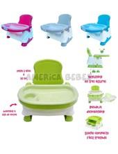 Silla de comer Booster.Hasta 20 kG. Adaptable a silla de cocina. Regulable en 3 alturas. Bandeja desmontable. Diseño compacto. Babies Co.