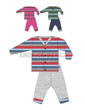 Pack Saquito M/L rayado y pantalon plush. Colores surtidos. Yaby.