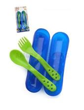 Set Cuchara+Tenedor puntas suaves y redondeadas. Incluye estuche. Baby Innovation-