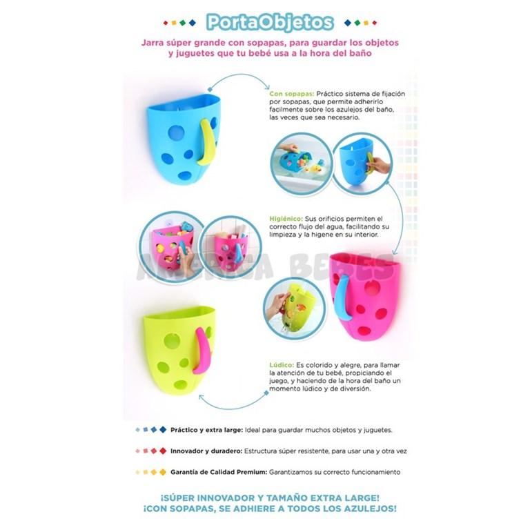Jarra Porta-Objetos con sopapas para fijar a los azulejos. Colores surtidos. Baby Innovation.