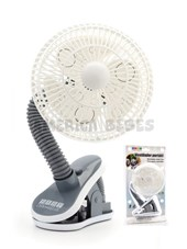 Ventilador portátil ideal para cochecitos. Diametro 14cm.  Funciona con 2 pilas AA. Clip sujetador. Baby Innovation.