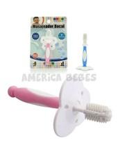 Masajeador bucal. Cepillo de silicona con cerdas extra suaves y tope de seguridad, para la primer etapa de dentición. Baby Innovation.