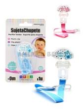 Sujeta Chupete x1 con CINTA Y CLIP. Evita que el chupete se caiga o pierda. Colores surtidos. Baby Innovation.