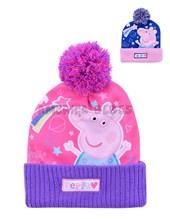 Gorro tejido y sublimado con Pompon Peppa Pig. Colores surtidos. Disney Licencia.