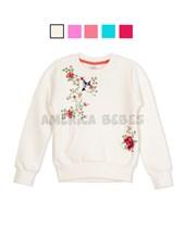 Buzo niña con estampa flores y colibri simil bordado. Colores surtidos. Ruabel.