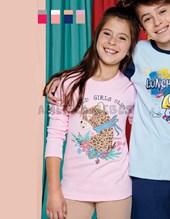 Pijama nena interlock collareta ribb y estampa animal print. Colores surtidos.Elemento.