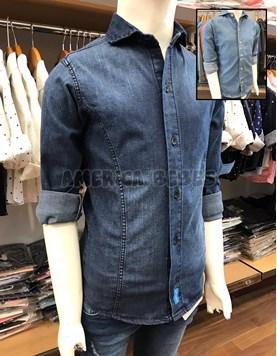 Camisa niño jean M/L. Elastizada con recortes. Botones de madera. Colores surtidos. Popeue Kids.