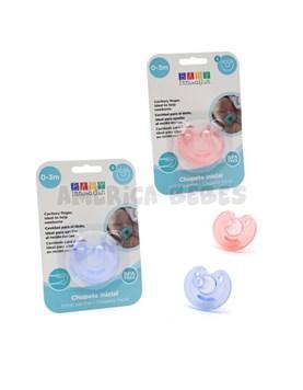 CHUPETE INICIAL T:S 0 A 3 MESES. Tetina: cavidad adaptable para el dedo. Colores surtidos. Baby Innovation.