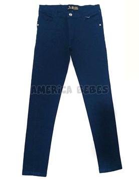 Pantalón chupin azul colegial gabardina.