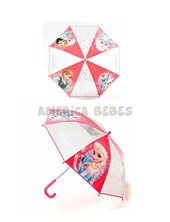 Paraguas  infantil Frozen. Pvc impermeable. Cuerpo y varillas de aluminio. Puntas de protección. Traba de seguridad. Apertura manual. Disney Licencia. Wabro.