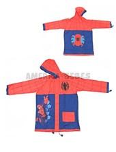 Piloto con capucha. Spiderman. Confeccionado Pvc impermeable. Tiras ajustables en los puños, en la capucha y en la cintura. Disney Licencia. Wabro.