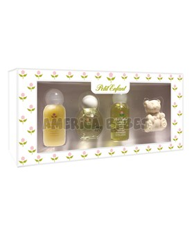 Estuche Miniautura . 0 a 1. Colonia 35ml,Shampoo 35ml,Crema de enjuague 35ml,Jabon Oso x40gr. Petit Enfant.
