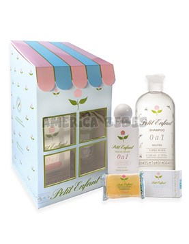 Estuche casita 0 a 1. Shampoo x240ml,Agua Azahar x60ml,Jabon con glicerina x100gr. Petit Enfant.