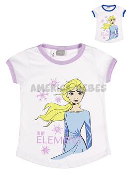 Remera nena M/C. Estampa Frozen. Colores surtidos. Disney Licencia.