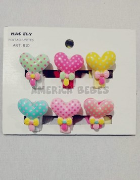 Portachupetes PACK X 6U Corazon. Colores surtidos. Mac Fly